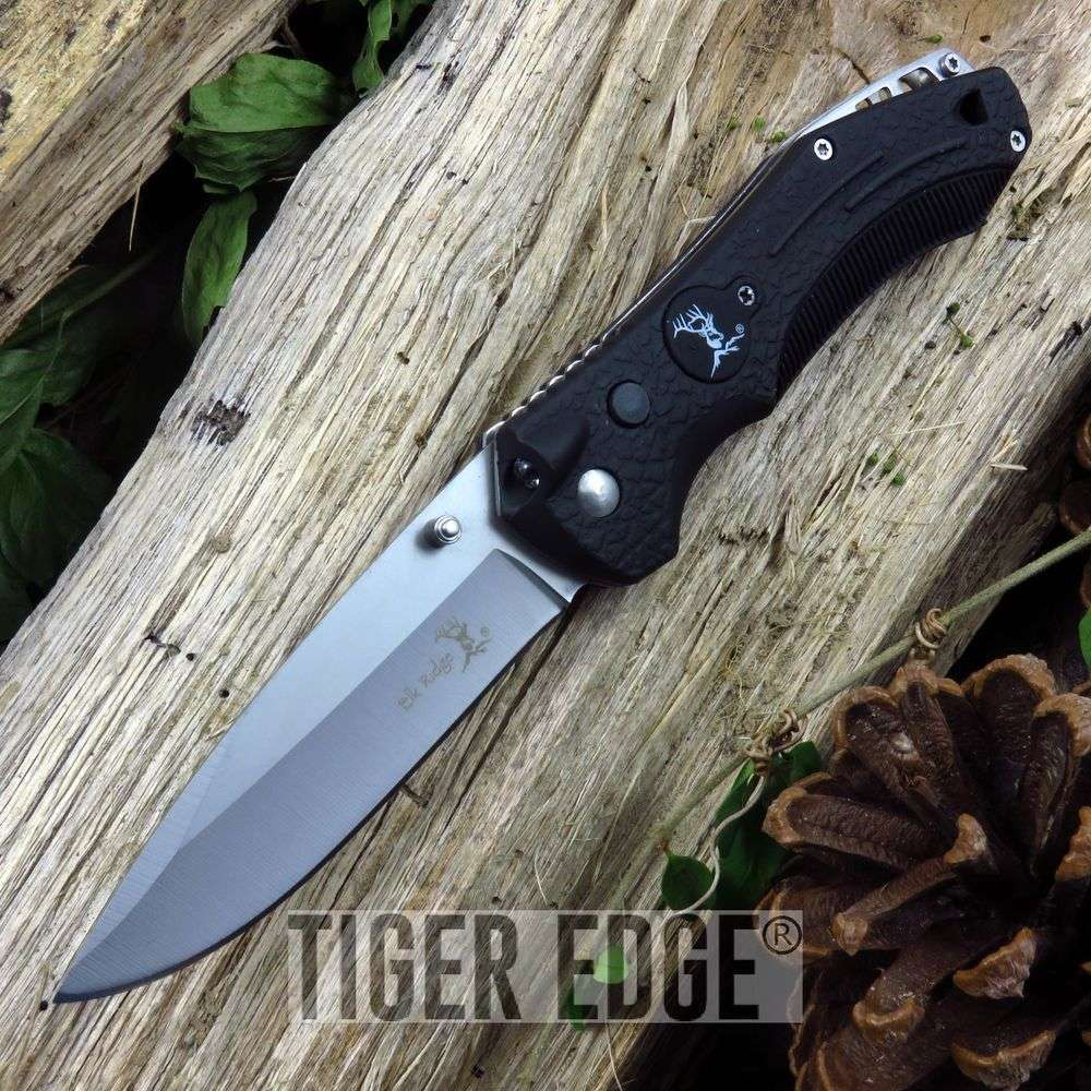 Elk Ridge Rubber Handle Emergency Folding Knife W/ Whistle And Led Light