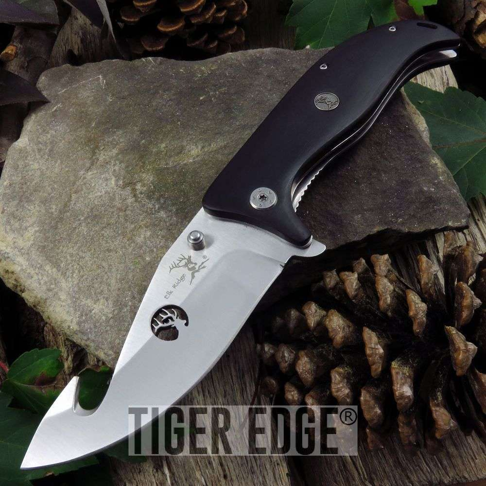 Folding Pocket Knife Elk Ridge Gut Hook Black Wood Hunting Flipper Edc Er-156Hgy