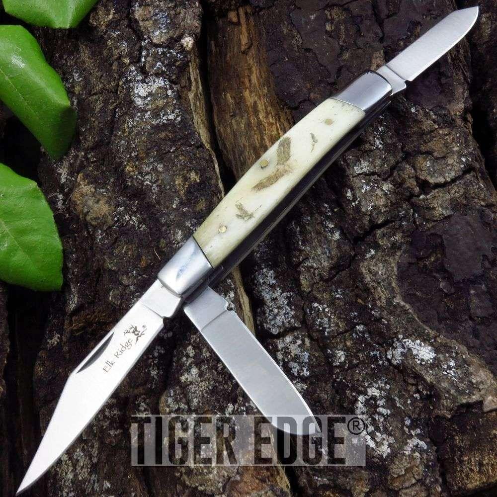 Folding Pocket Knife Elk Ridge Gentleman'S Trapper Double Blade Eagle Er-323E
