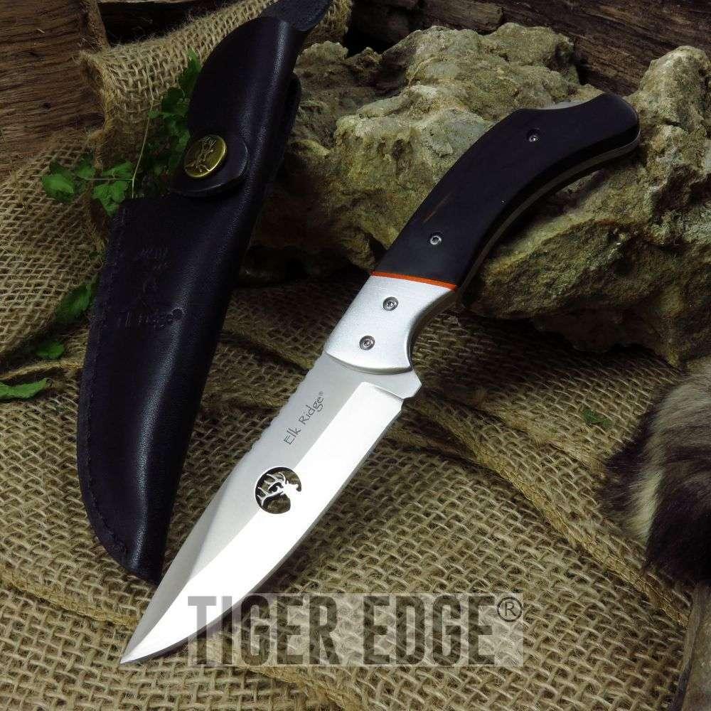 Fixed-Blade Hunting Knife Elk Ridge Full Tang Black Wood Skinner, Leather Sheath