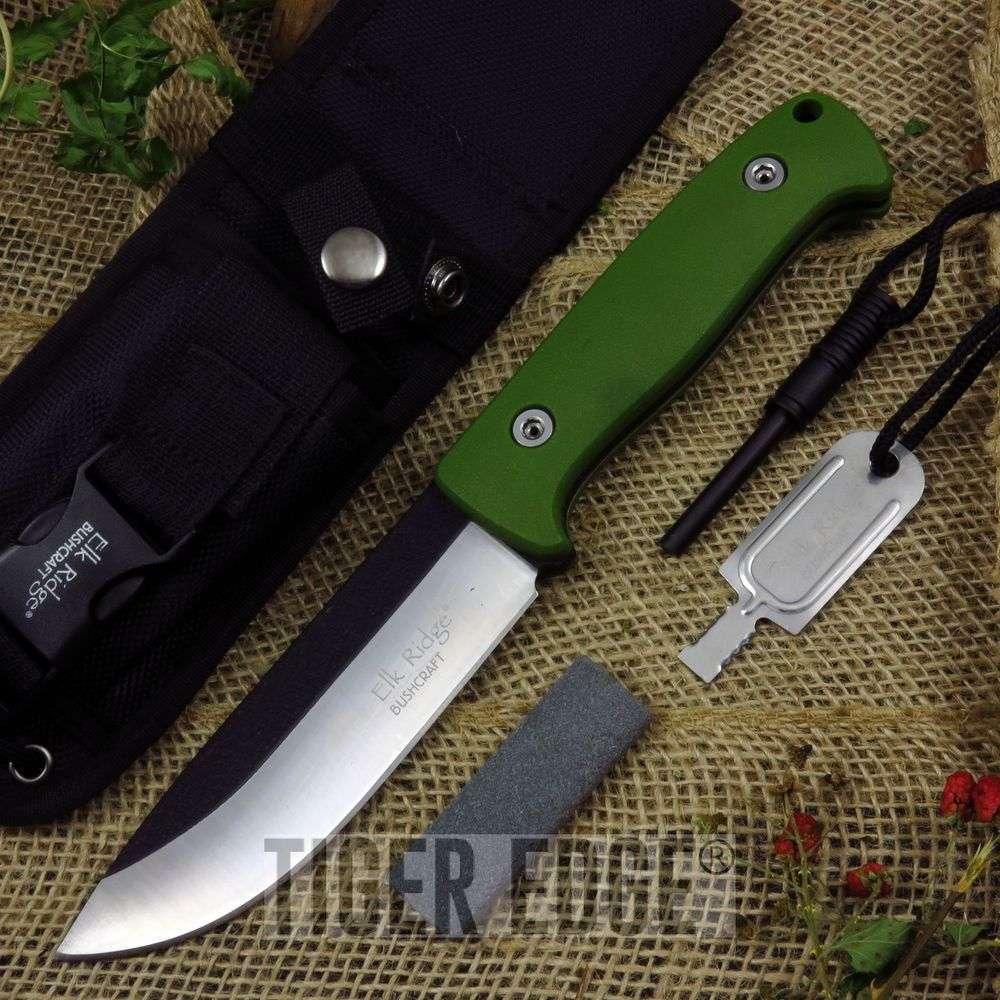 Fixed Blade Survival Knife | Elk Ridge Green Fire Starter Sharpener Set Er-555Gn