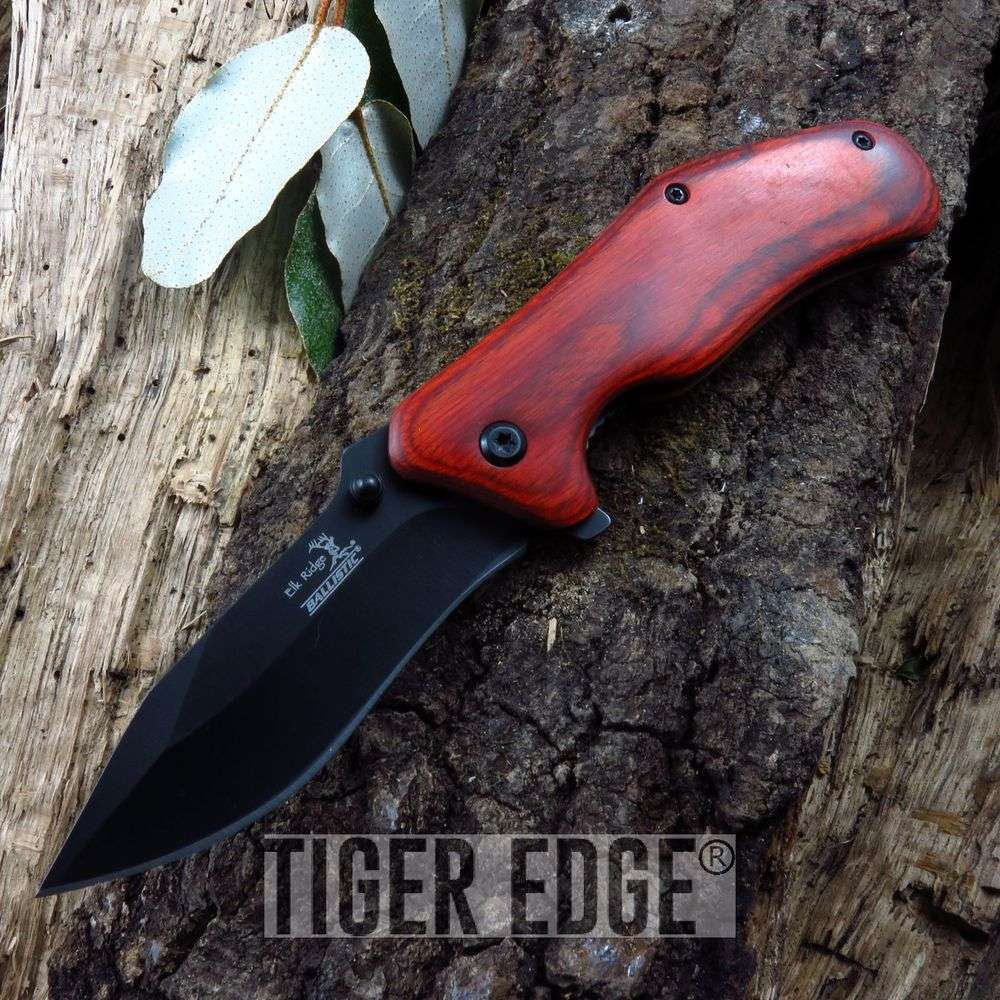 Spring-Assist Folding Pocket Knife Elk Ridge Brown Wood Hunter Edc Tactical