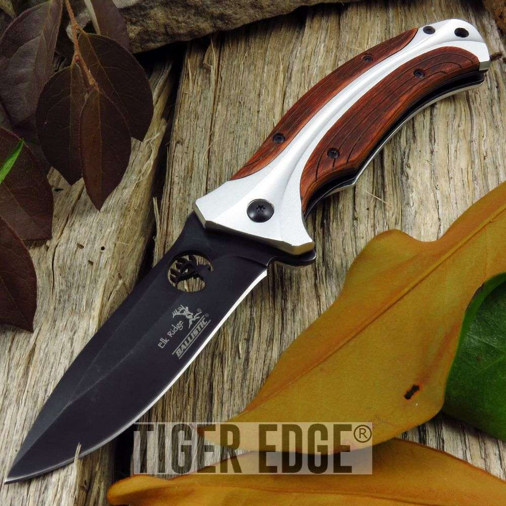 Spring-Assist Folding Pocket Knife Elk Ridge Black Blade Silver Wood Hunter