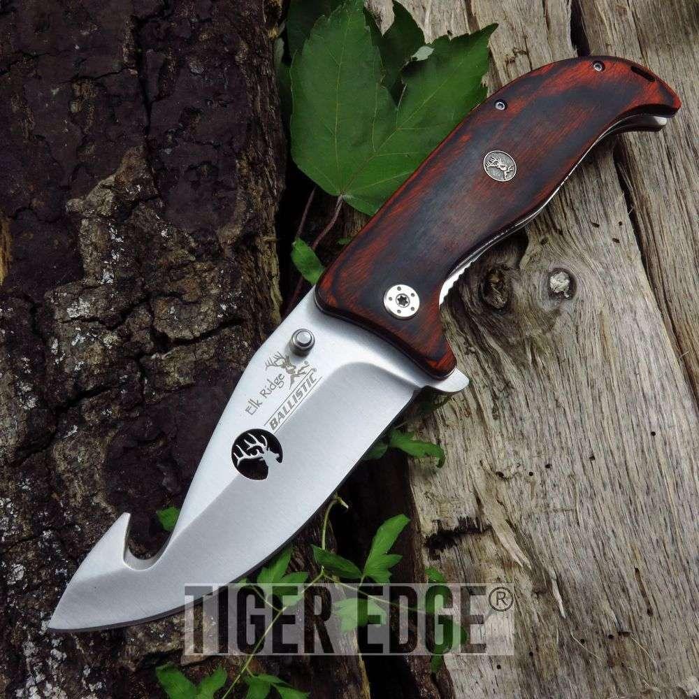 Spring-Assist Folding Pocket Knife Elk Ridge Brown Wood Hunting Edc Er-A156