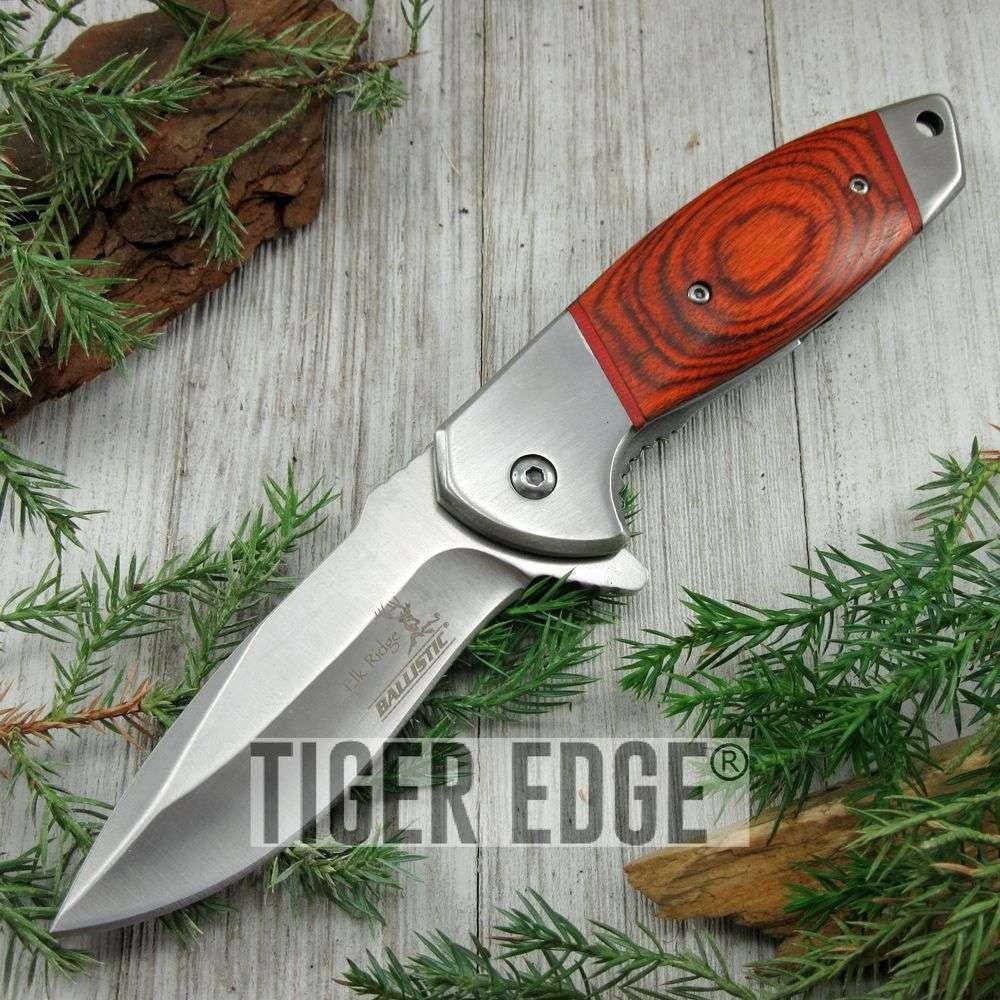 Spring-Assist Folding Pocket Knife Elk Ridge Brown Wood Silver Blade Hunter Wd