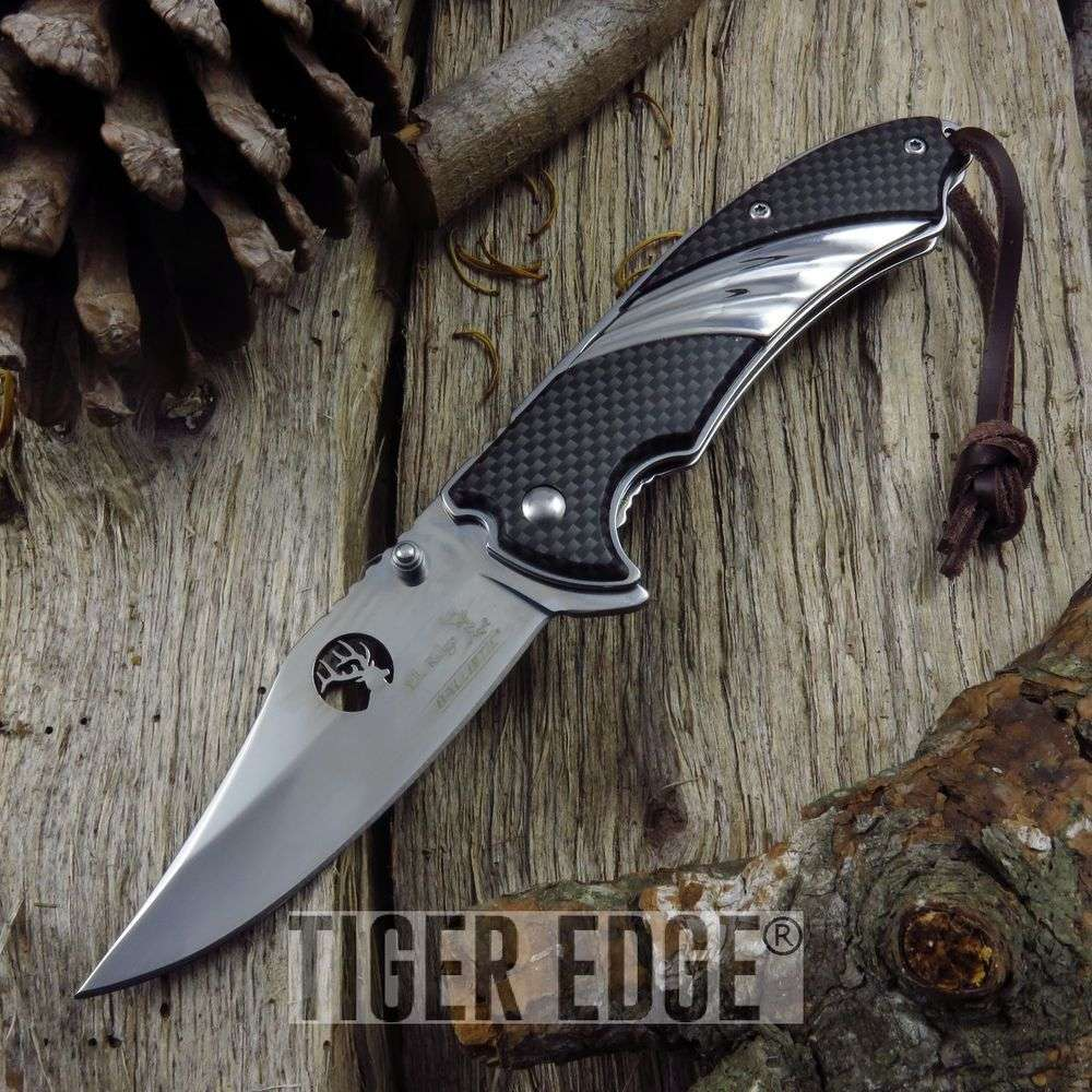 Spring-Assist Folding Pocket Knife Elk Ridge Silver Blade Carbon Fiber Edc