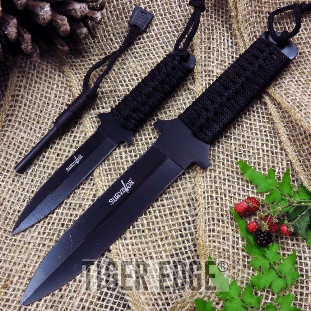 2-Pc. Black Double Edge Knife Set W/ Fire Starter