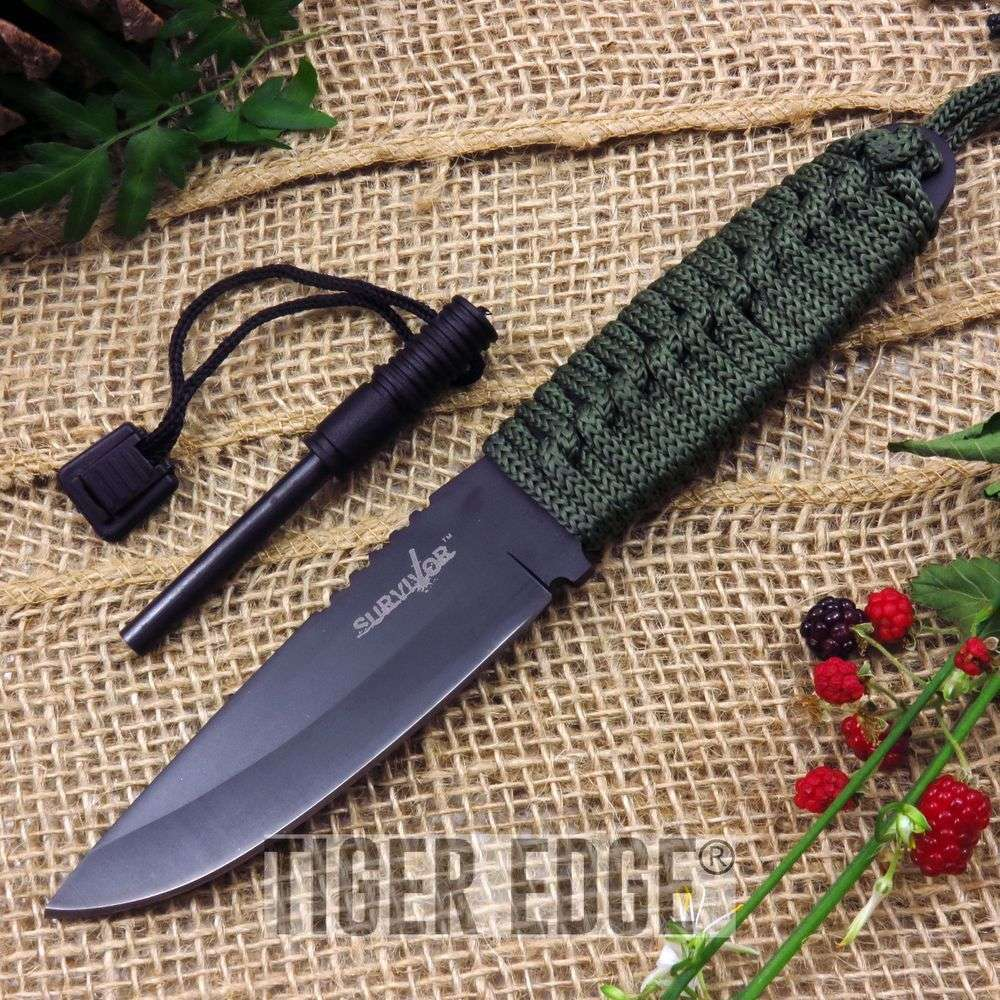"8"" Clip Pt Survival Knife W/ Fire Starter And Sheath"