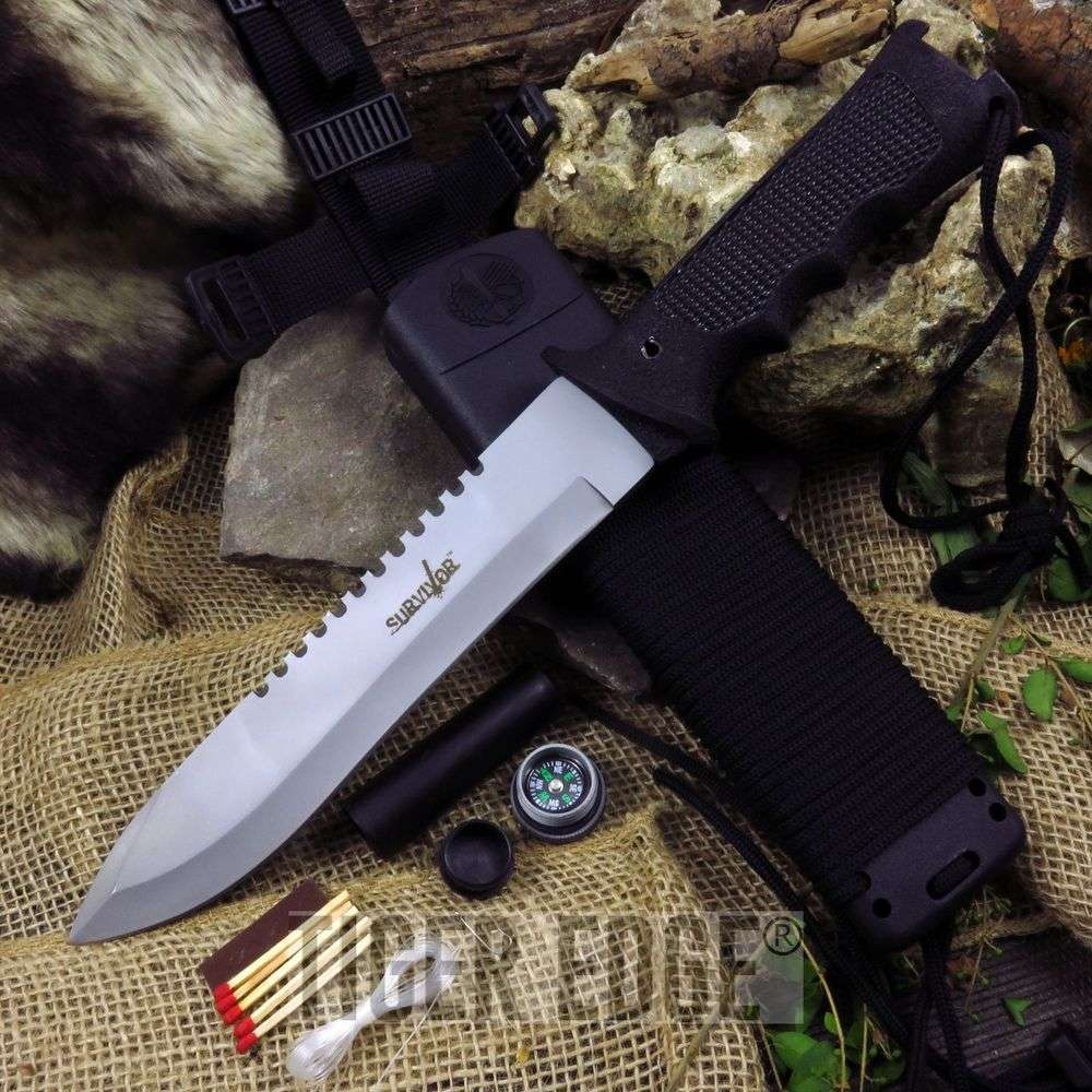 "12"" Ultimate Survival Knife W/ Kit And Sheath"