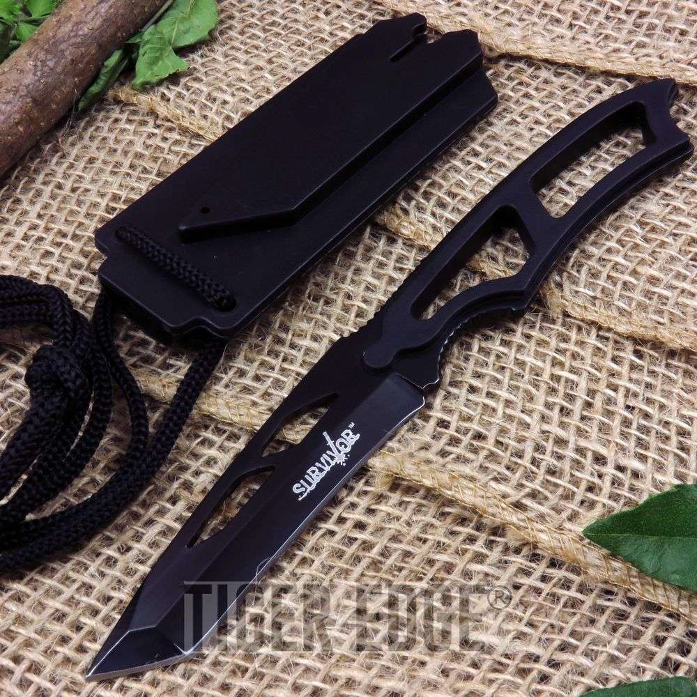 Black Minimalist Tactical Neck Knife With Whistle Tanto Blade Undercover