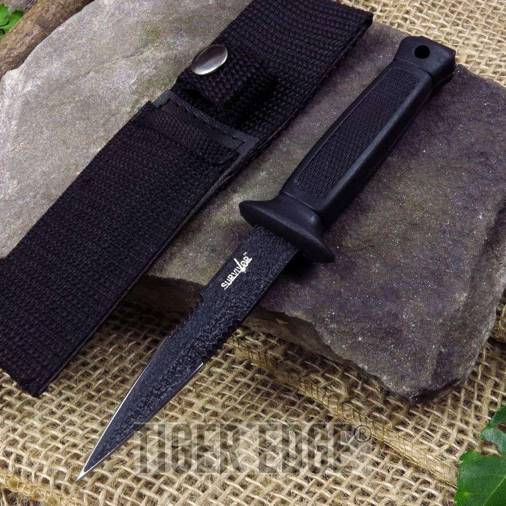"6.5"" Black Double-Edge Serrated Stealth Stinger Bodyguard Dagger W/ Sheath"