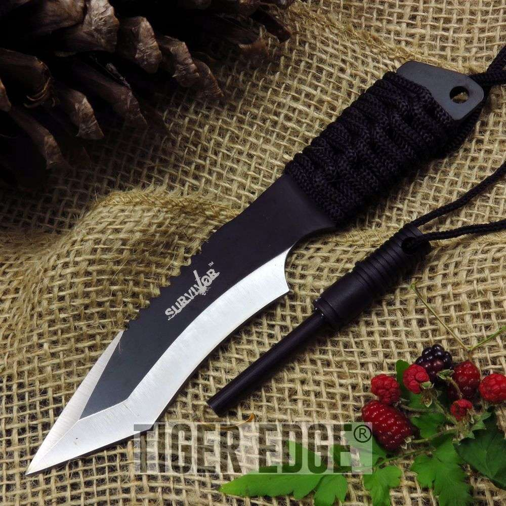 "Black/Silver 7"" Full Tang Tanto Survival Knife W/ Sheath And Fire Starter"