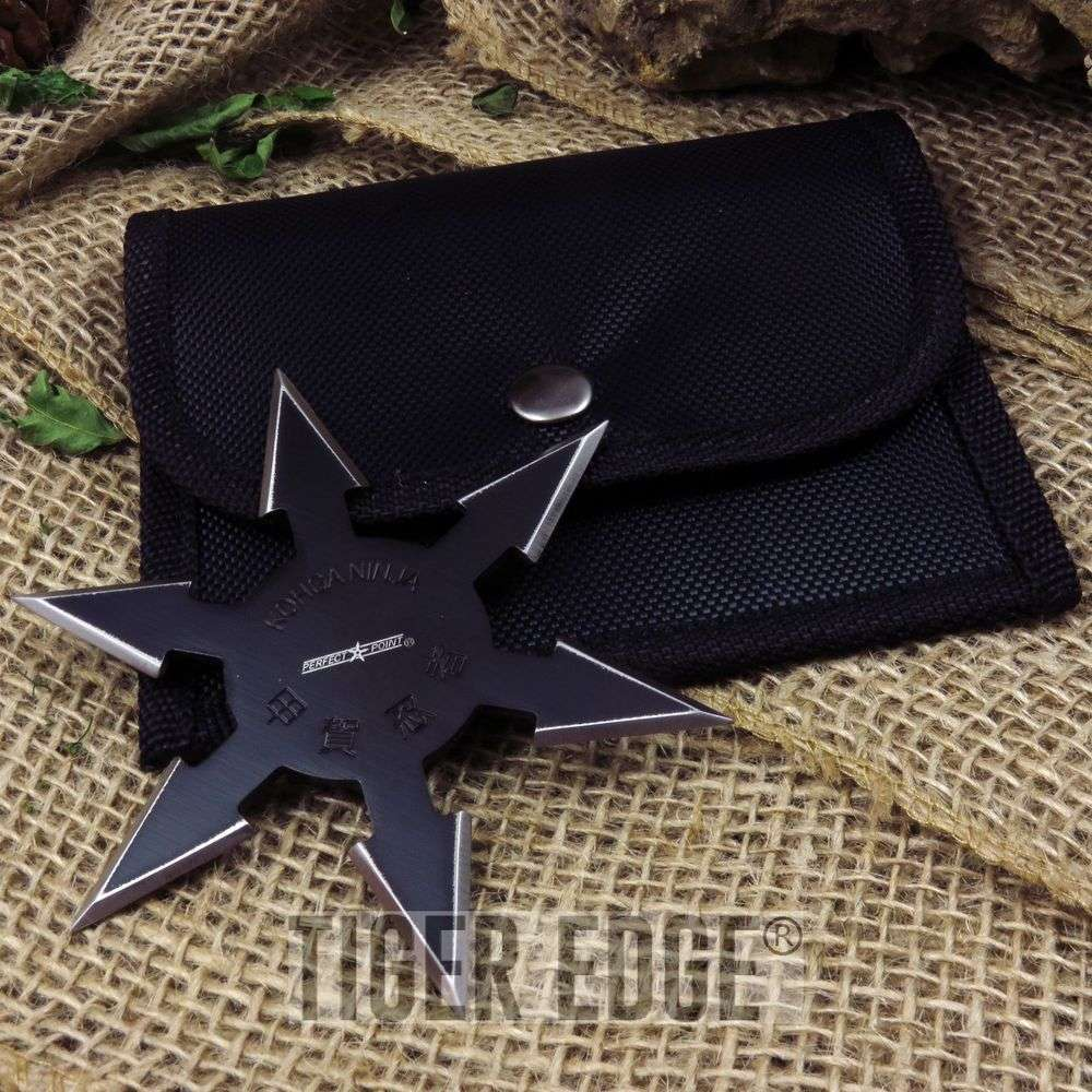 "4"" Sharp 6-point Throwing Star Shuriken Ninja Samurai Black Knife"