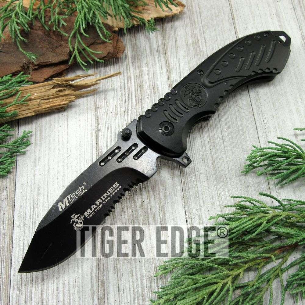 Spring-Assist Folding Pocket Knife Mtech Marines Usmc Black Serrated Blade Edc