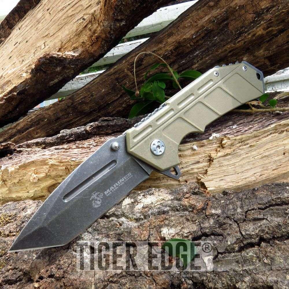 Usmc Marines Spring Assisted Tan G10 Handle Tanto Blade Folding Knife