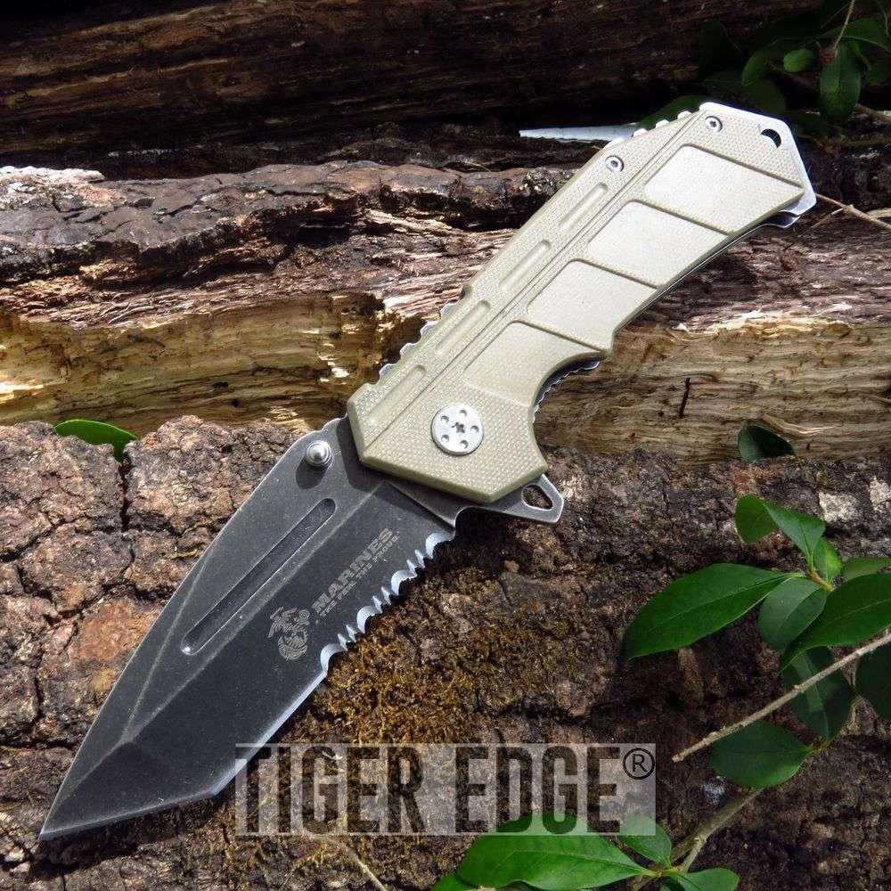 Usmc Marines Spring Assisted Tan G10 Serrated Tanto Blade Folding Knife