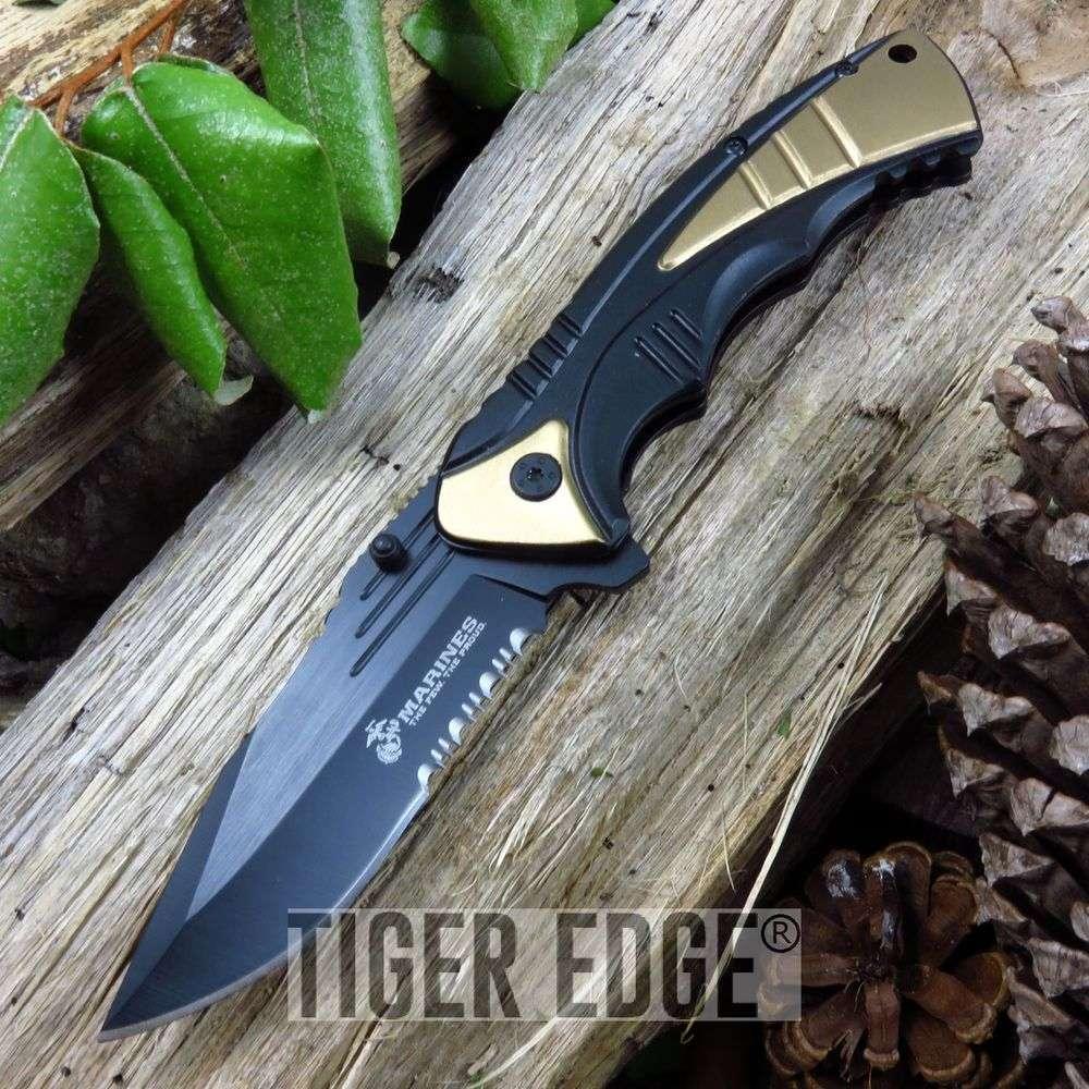 Usmc Marines Tan & Black Serrated Tactical Edc Spring-Assist Folding Knife