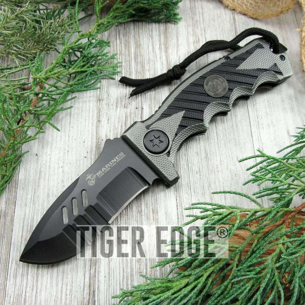 Spring-Assist Folding Pocket Knife Mtech Marines Usmc Gray Black Serrated Heavy