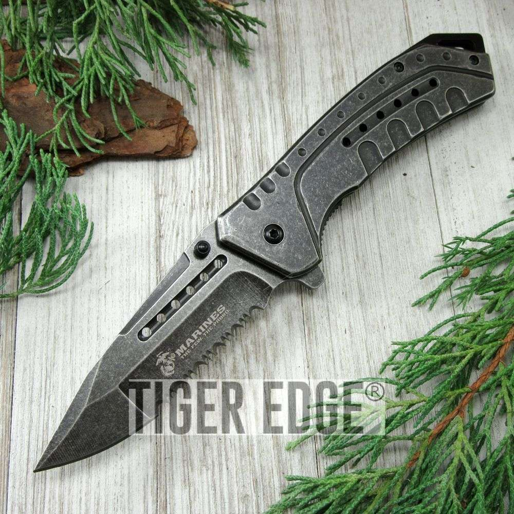 Spring-Assist Folding Pocket Knife Mtech Marines Usmc Stone Gray Serrated Blade