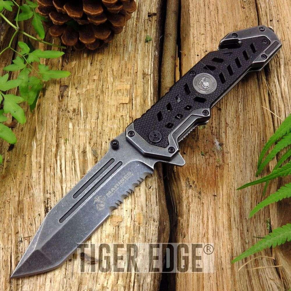 Spring Assist Folding Pocket Knife Usmc Gray Tanto Serrated Blade Black Rescue