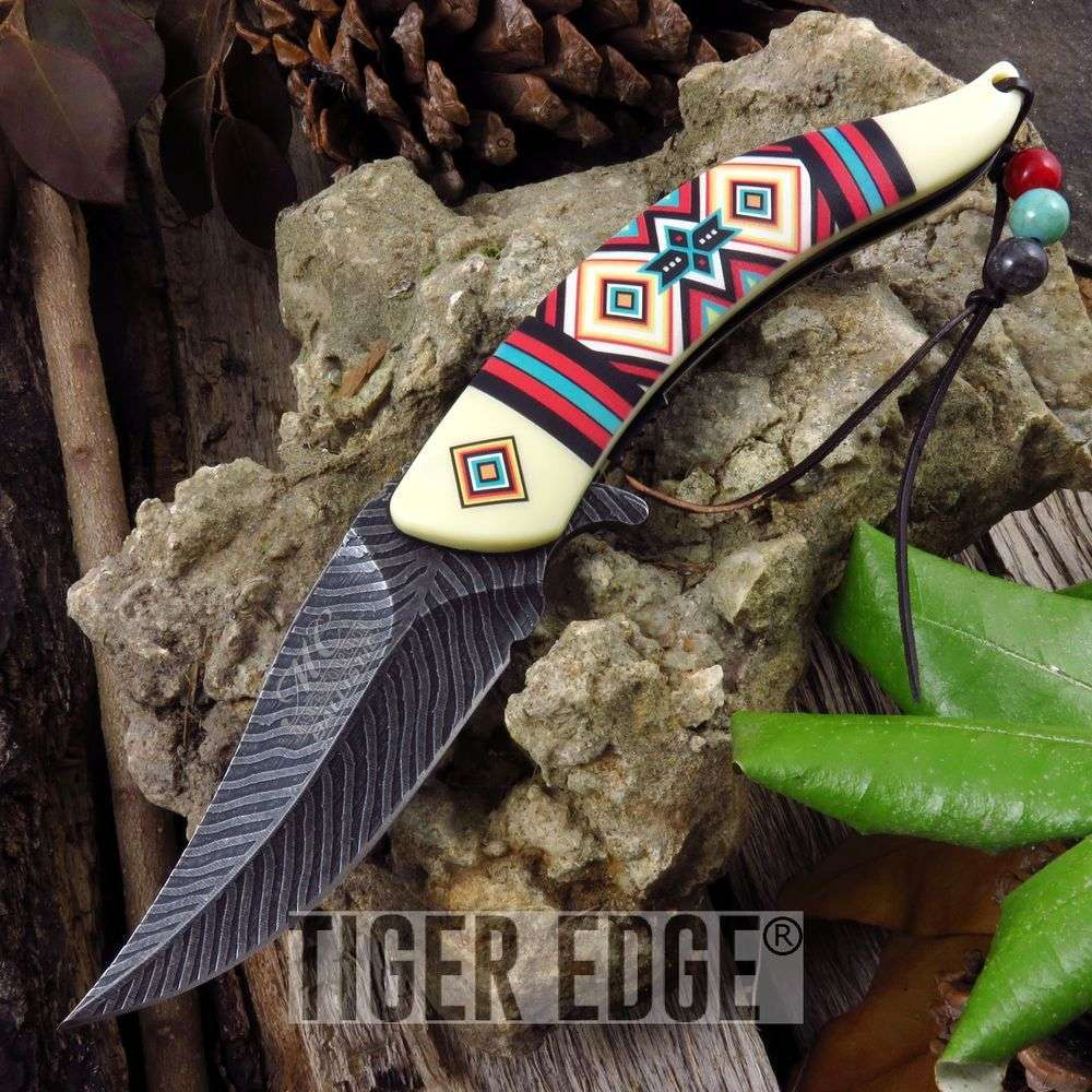 Spring-Assist Folding Pocket Knife Indian Native Bead Feather Tribal Mc-A023Iv