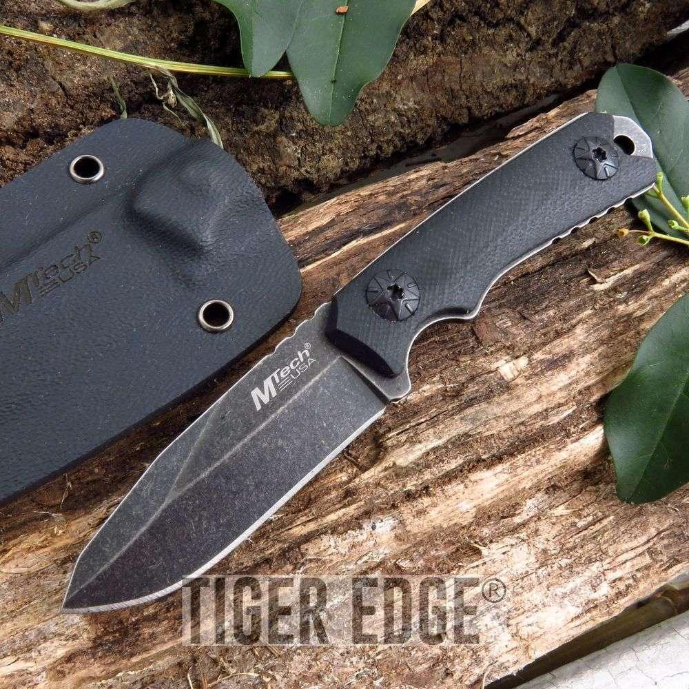 Mtech Minimalist Black Neck Knife Stonewash Dark Grey Hidden Fixed Blade