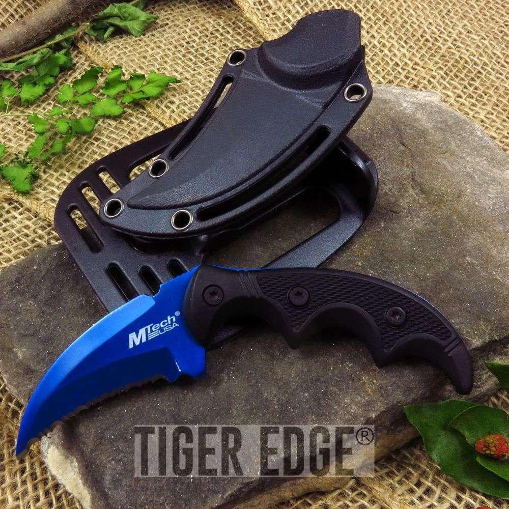 Fixed Blade Tactical Knife Mtech Blue Black Karambit Serrated Full Tang Defense