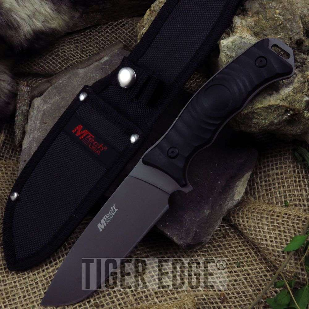 Fixed-Blade Tactical Knife   Mtech Black Full Tang Combat Blade Survival Hunting