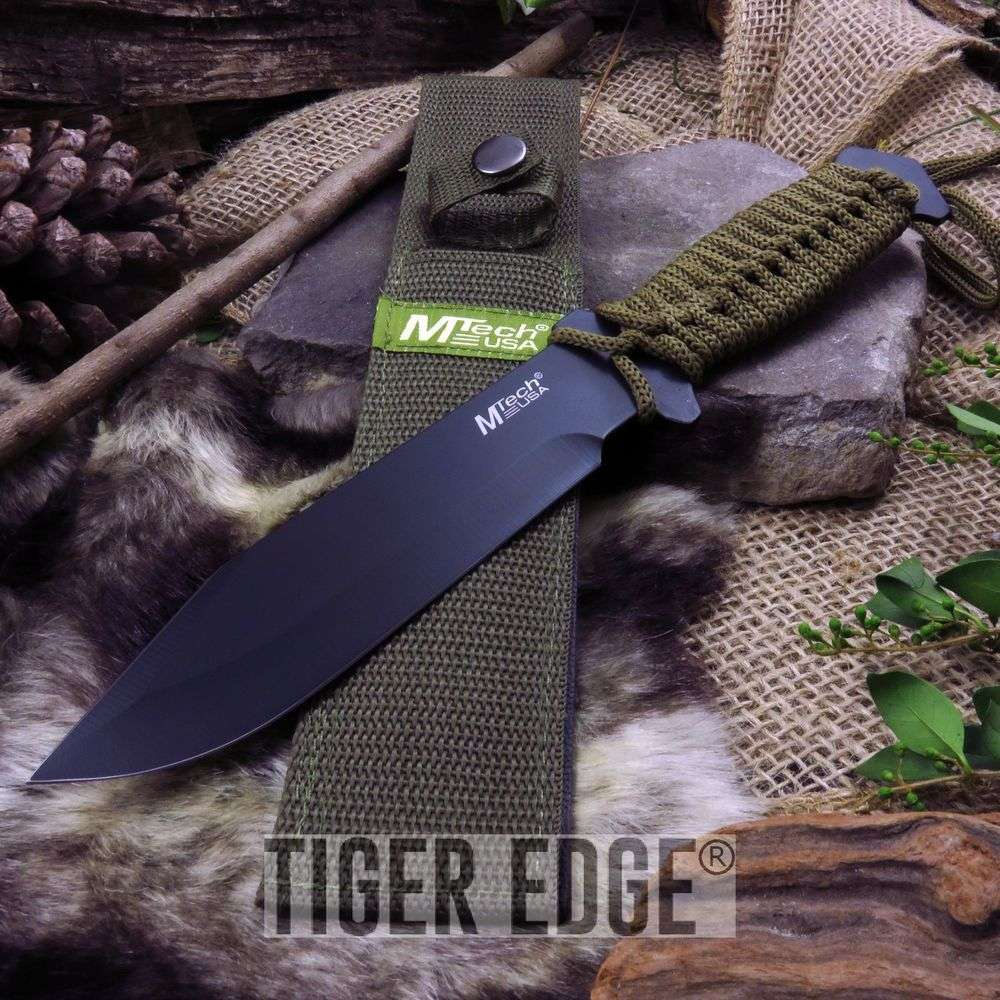 "Mtech 10.5"" Drop Point Survival Knife Green Cord Wrapped W/ Sheath"