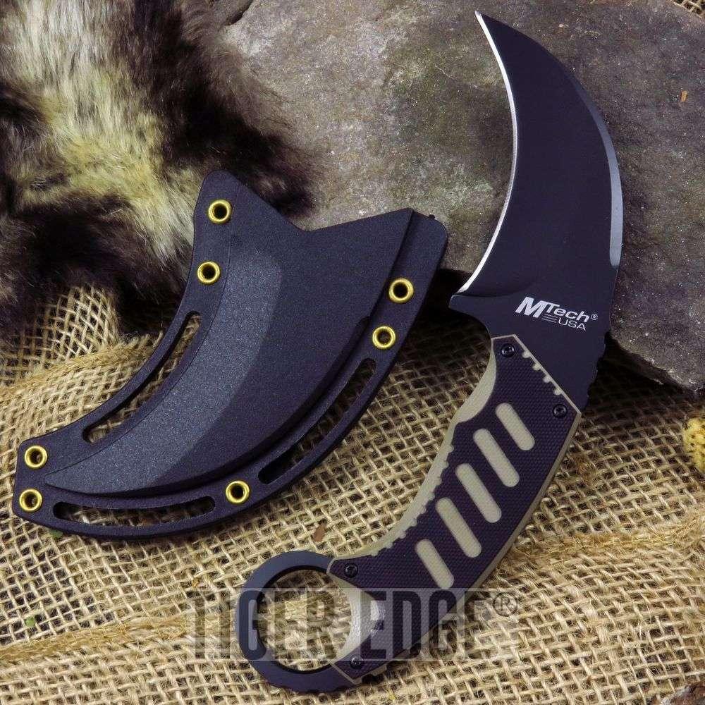 Mtech Black & Tan Karambit Neck Knife Combat Fixed Blade Martial Arts Style