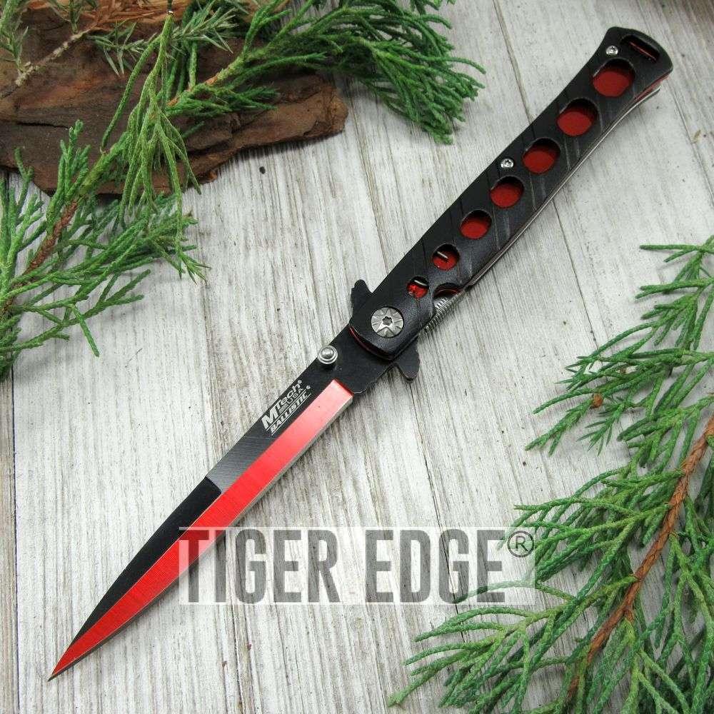 Spring-Assist Folding Pocket Knife Mtech Black Red Tactical Stiletto Blade Edc