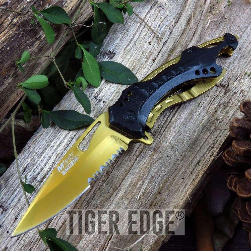 Mtech Black & Gold Spring Assisted Folding Knife Orleans Saints Who Dat