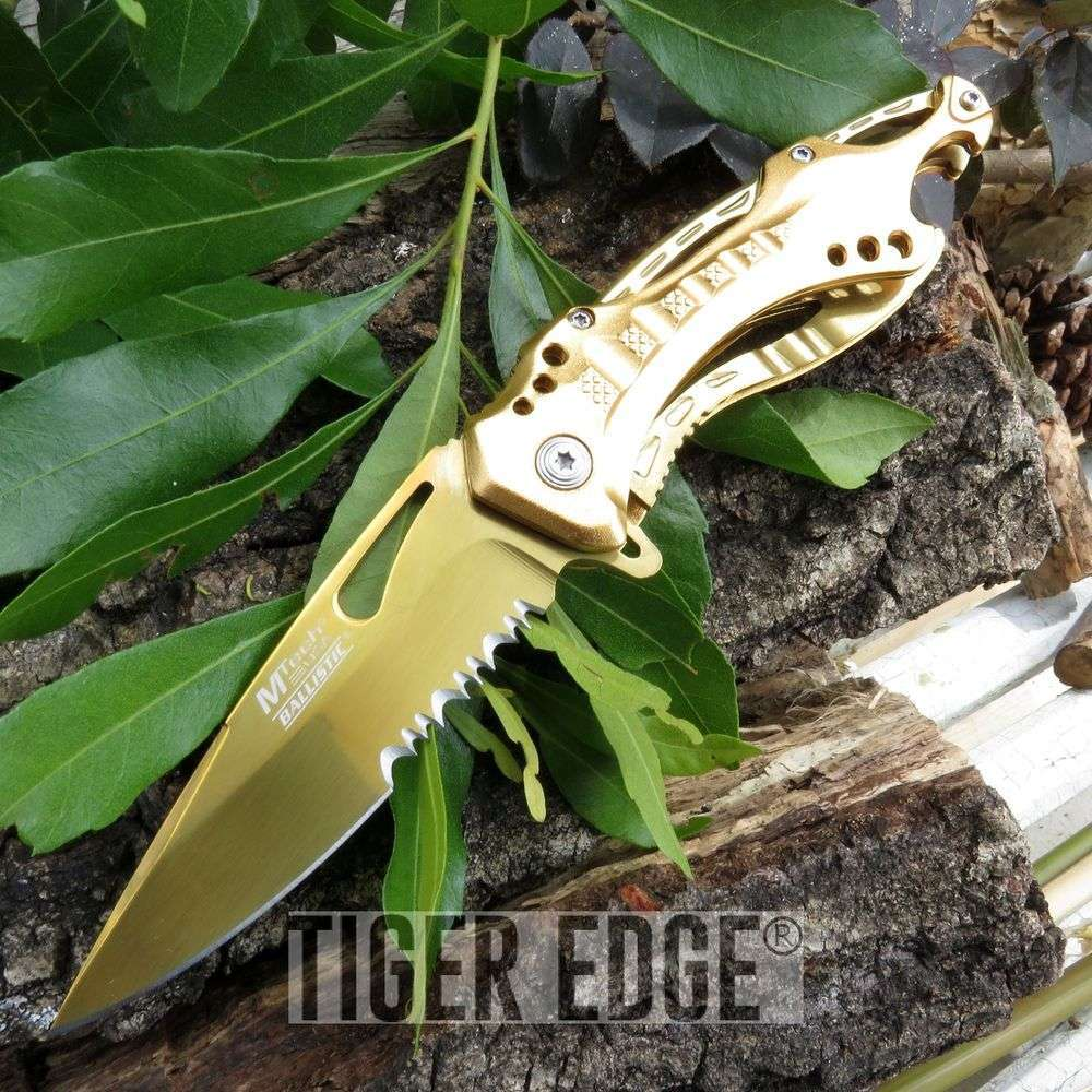 Mtech Gold Spring Assisted Serrated Blade Folding Knife