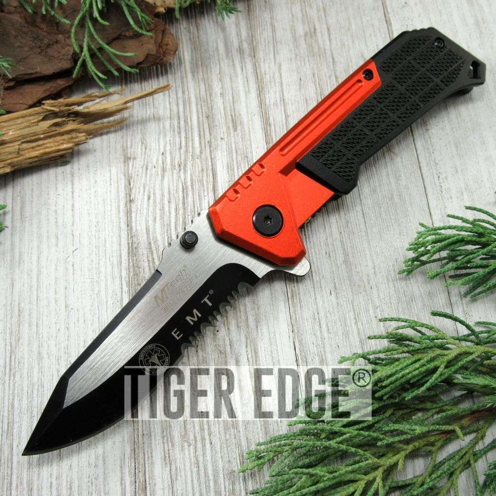 Spring-Assist Folding Pocket Knife Mtech Emt Paramedic Orange Black Serrated Edc