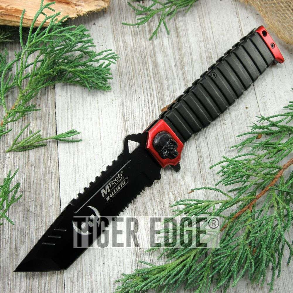 Spring-Assist Folding Pocket Knife Mtech Red Skull Black Tanto Serrated Blade