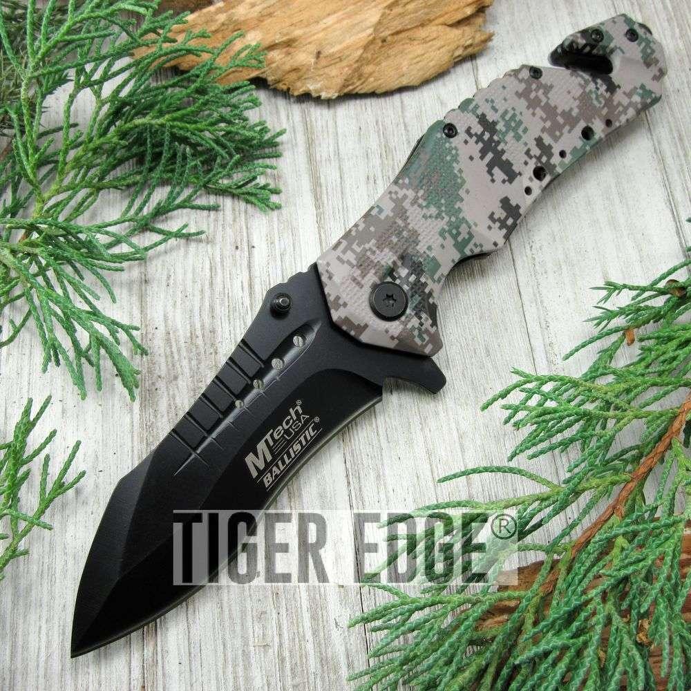 Spring-Assist Folding Pocket Knife Mtech Large Black Blade Camo Tactical Rescue