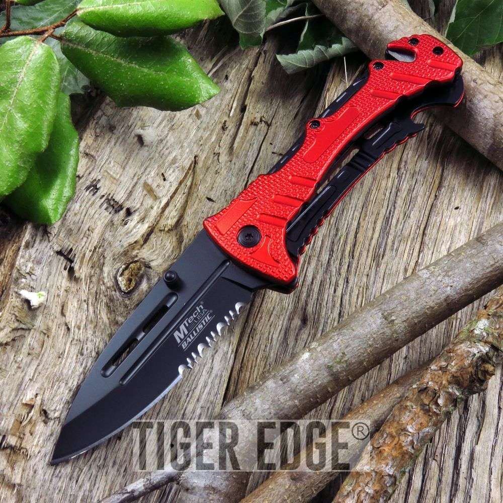 Mtech Red Rescue Tactical Serrated Spring-Assisted Folding Knife W/ Cutter