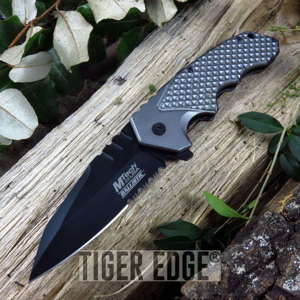 Mtech Ballistic Spring Assist Modern Grey Folding Knife Pocket Blade Edc
