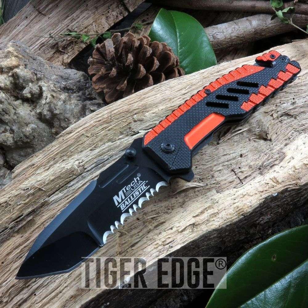 Mtech Spring-Assist Tactical Folding Knife Futuristic Orange Serrated Tanto