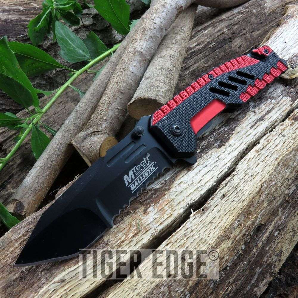 Mtech Spring-Assist Tactical Folding Knife Futuristic Red Serrated Tanto