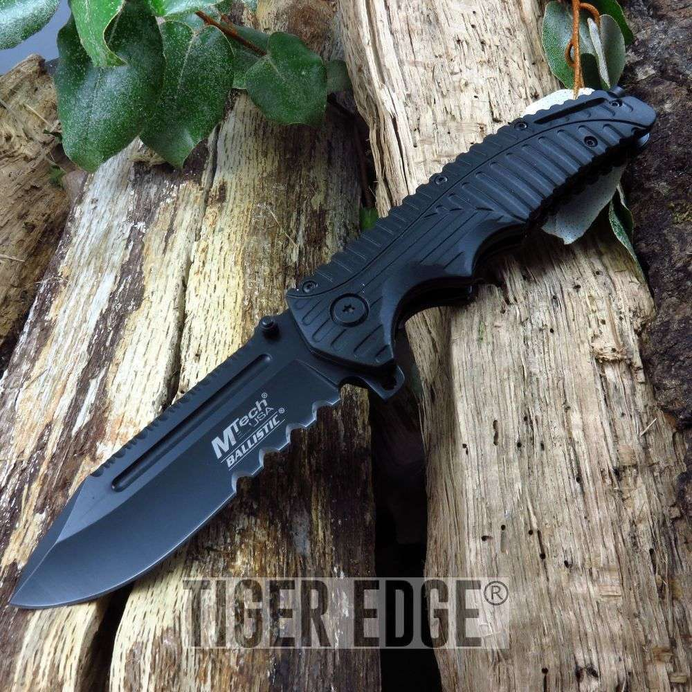 Mtech Black Futuristic Serrated Spring-Assist Tactical Folding Knife