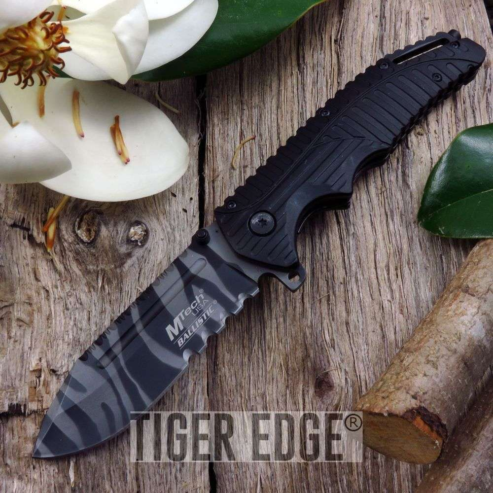 Mtech Urban Camo Tiger Stripe Serrated Spring-Assist Tactical Folding Knife