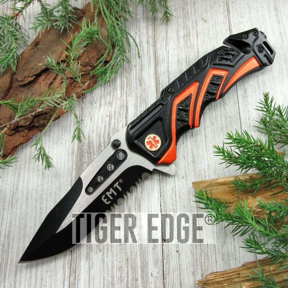 Spring-Assist Folding Pocket Knife Black Serrated Orange Emt Paramedic Rescue