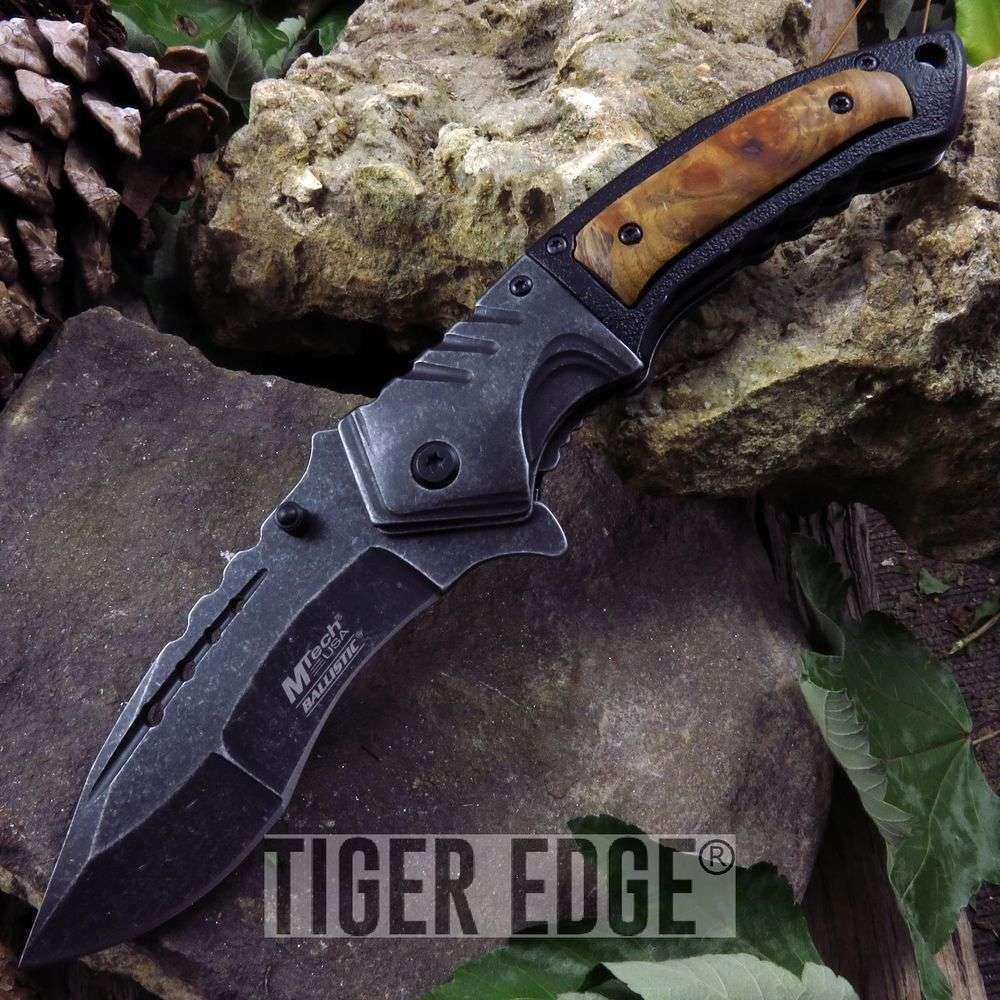 Mtech Black/Wood Handle Stonewash Blade Fantasy Spring-Assist Folding Knife