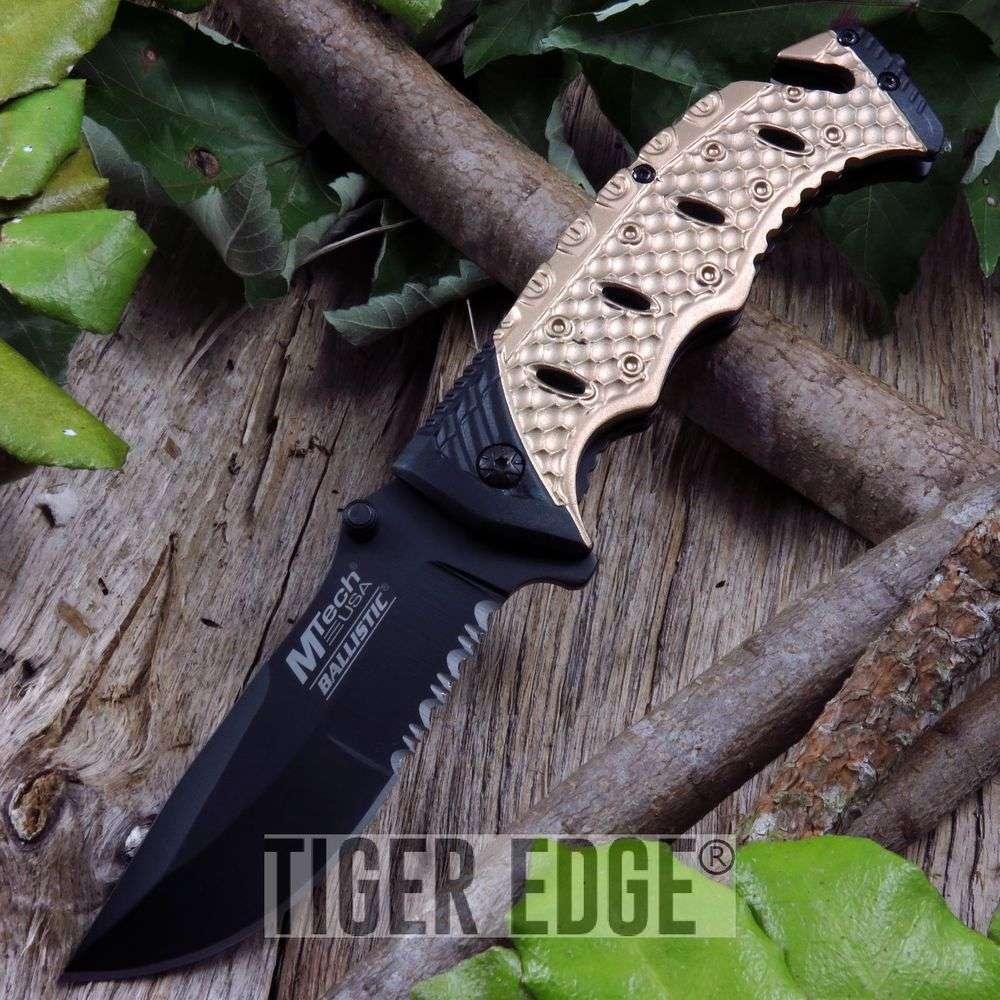 Spring-Assist Folding Pocket Knife | Mtech Black Blade Tan Serrated Tactical Edc