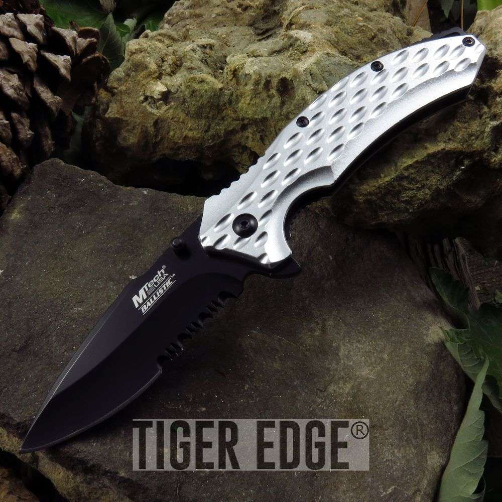 Mtech Silver Textured Serrated Everyday Carry Edc Spring-Assisted Knife