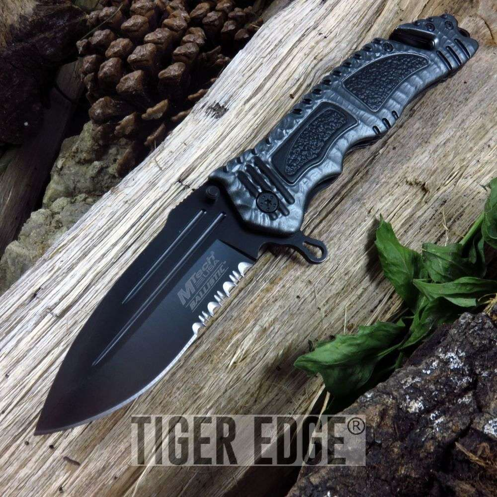 Mtech Tactical Spring-Assist Rescue Folding Knife Pewter Everyday Carry