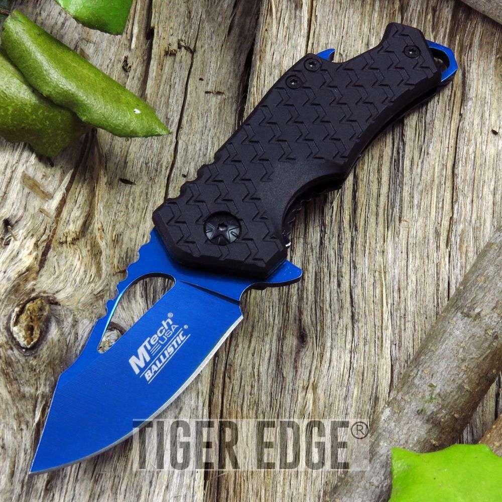 Spring-Assist Folding Pocket Knife   Mtech Blue Blade Black Tactical Bottle Open
