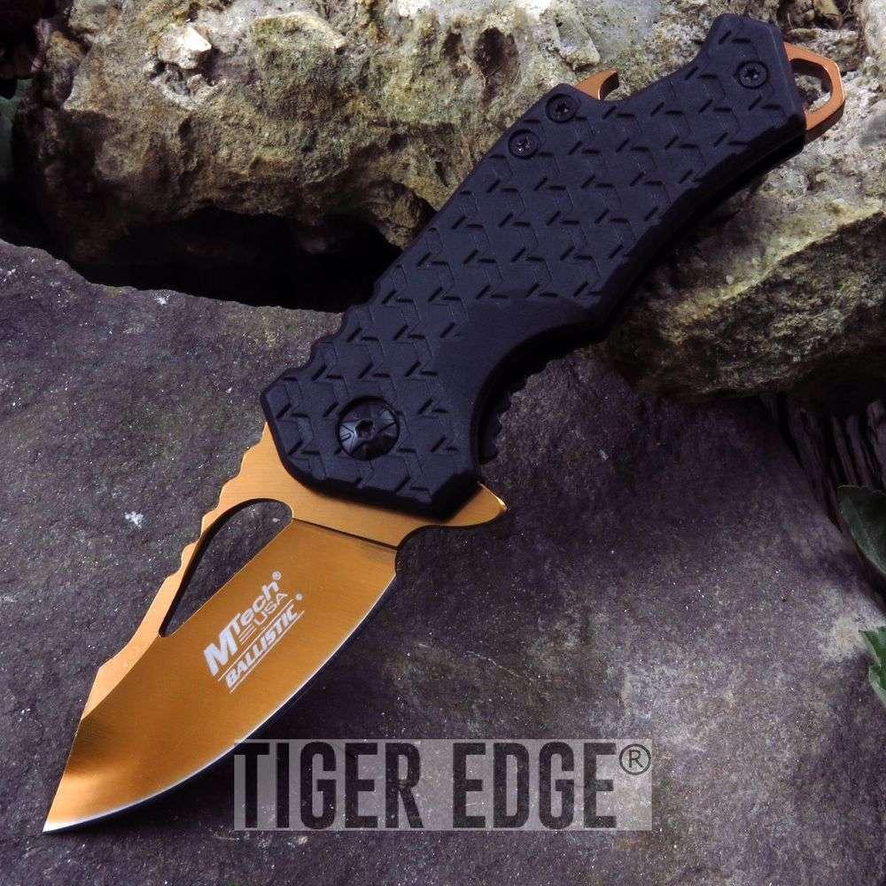Spring-Assist Folding Pocket Knife Mtech Orange Blade Black Tactical Bottle Open