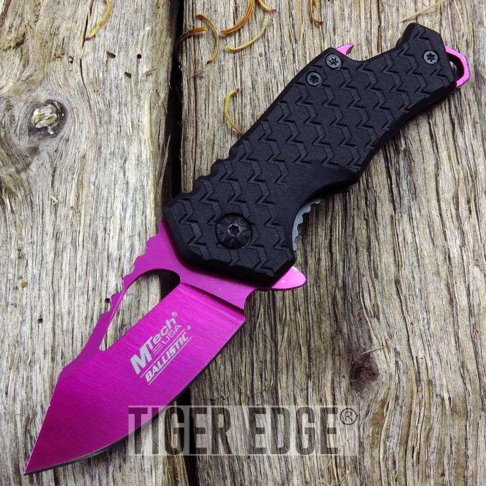 Spring-Assist Folding Pocket Knife   Mtech Pink Blade Black Tactical Bottle Open